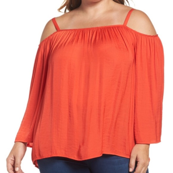 3392862a9fddb Vince Camuto Coral Red Hot Off Shoulder Top